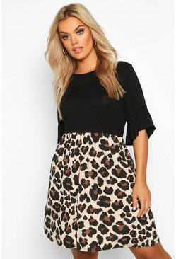 Womens Black Plus Leopard Contrast Smock Dress