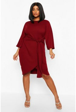 Womens Berry Plus Jumbo Rib Kimono Sleeve Tie Waist Dress