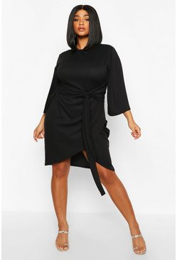 Black Plus Jumbo Rib Kimono Sleeve Tie Waist Dress