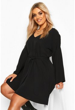 Black Plus Tie Waist V Neck Swing Dress