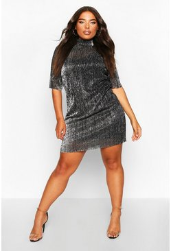 Womens Black Plus Metallic Pleated Shift Dress