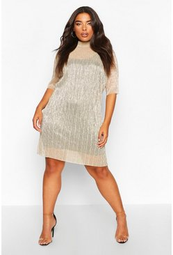 Gold Plus Metallic Pleated Shift Dress