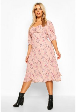 Blush Plus Floral Ruched Detail Midi Dress