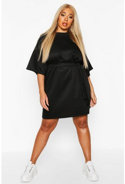 Black Plus Loopback Short Sleeve Tie Waist Dress