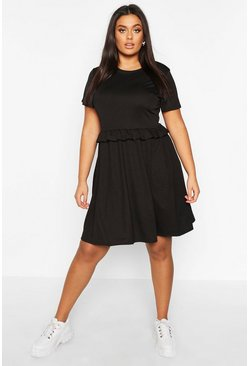 Black Plus Ruffle Front Smock Dress