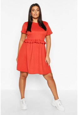 Terracotta Plus Ruffle Front Smock Dress