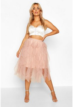 Womens Blush Plus Tulle Layered Midi Skirt