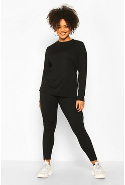 Black Plus Rib Long Top + Legging Co-Ord