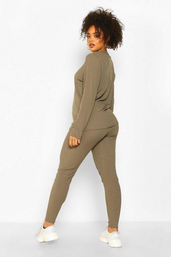 Plus Rib Long Top + Legging Co-Ord
