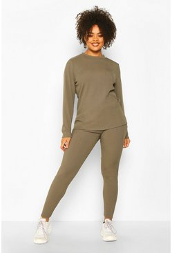 Khaki Plus Rib Long Top + Legging Co-Ord