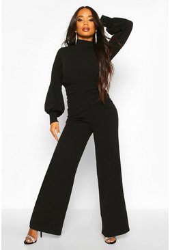Womens Black Petite High Neck Wide Leg Jumpsuit
