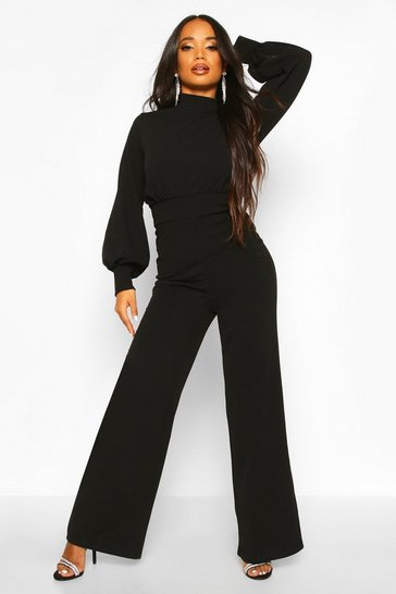 Black Petite High Neck Wide Leg Jumpsuit