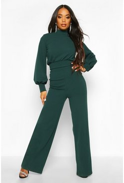 Green Petite High Neck Wide Leg Jumpsuit