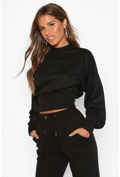 Black Petite Balloon Sleeve Sweat Top