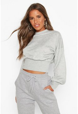 Womens Grey Petite Balloon Sleeve Sweat Top