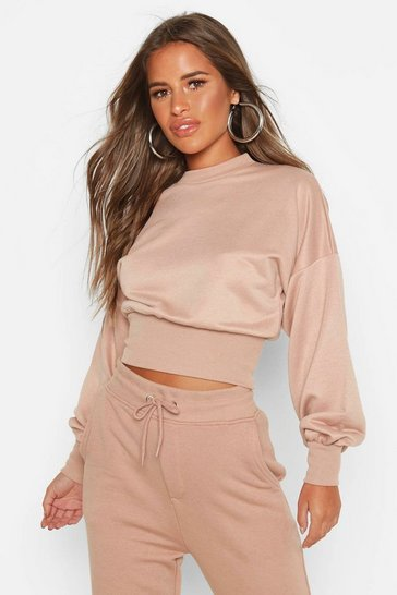 Womens Stone Petite Balloon Sleeve Sweat Top