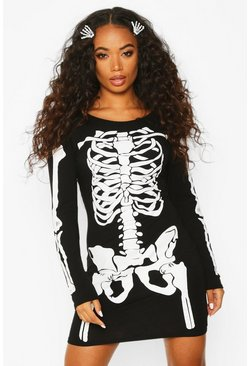 Black Petite Halloween Skeleton Long Sleeve Mini Dress