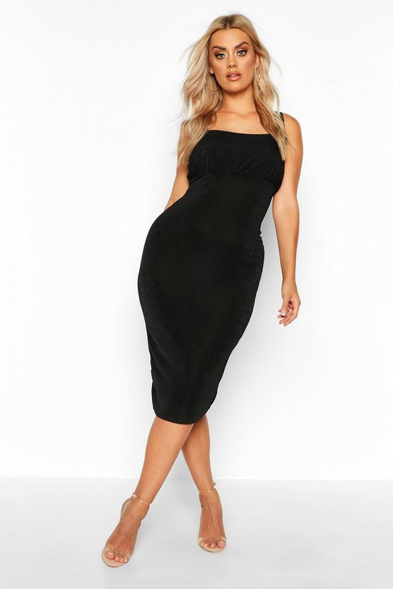 Womens Black Plus Ruched Bodice Textured Slinky Midi Dress