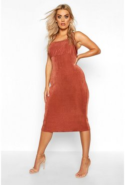 Womens Chocolate Plus Ruched Bodice Textured Slinky Midi Dress