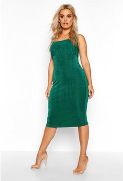 Jade Plus Ruched Bodice Textured Slinky Midi Dress