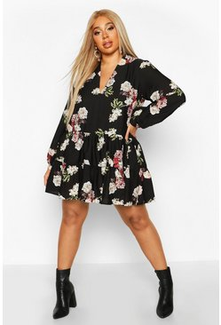 Womens Black Plus Floral Tiered V-Neck Smock Dress