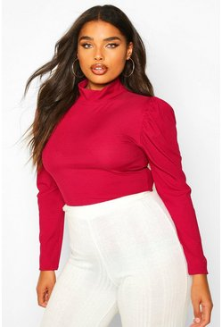 Berry Plus High Neck Puff Sleeve Rib Top