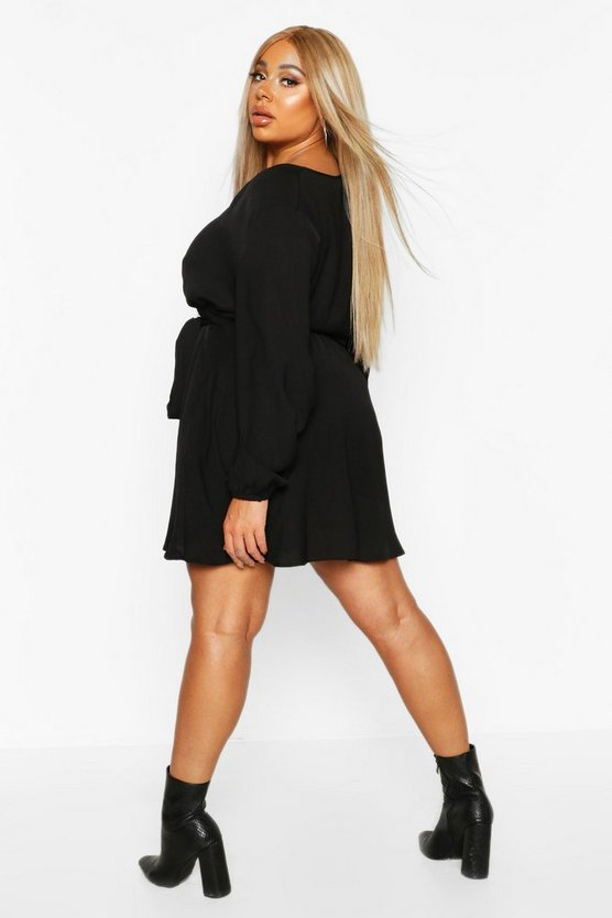 Plus Self Belt Skater Dress