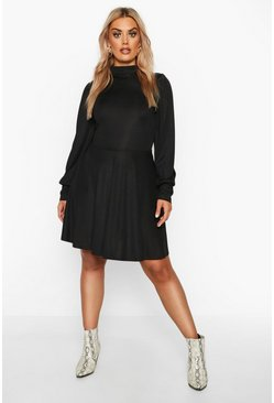 Black Plus Balloon Sleeve High Neck Skater Dress