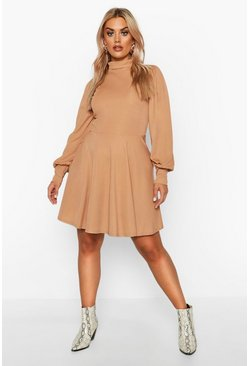Womens Toffee Plus Balloon Sleeve High Neck Skater Dress