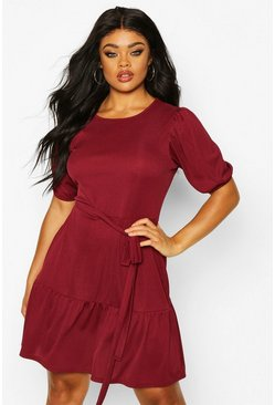 Womens Berry Plus Soft Rib Puff Sleeve Belted Skater Dress