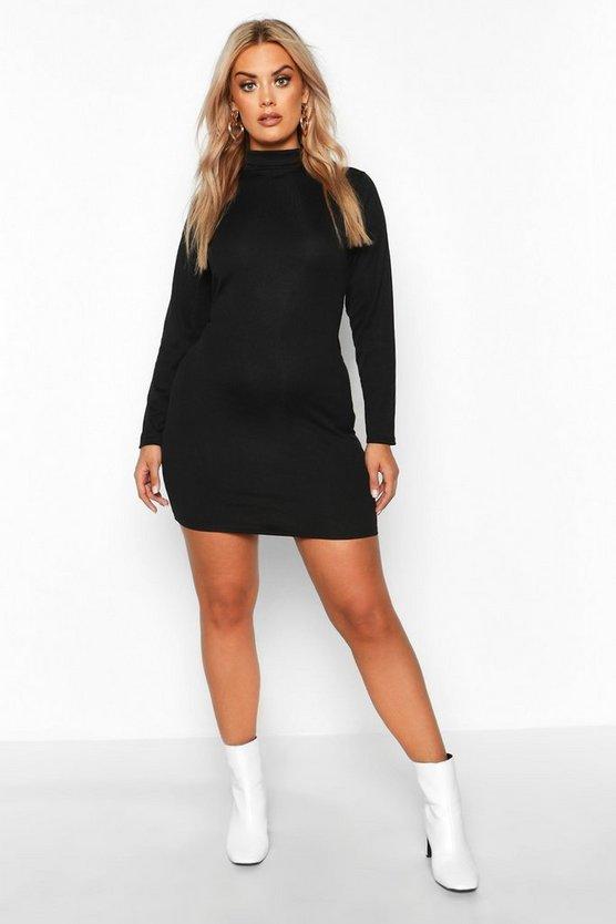 Plus Rib Knit Roll Neck Long Sleeve Mini Dress