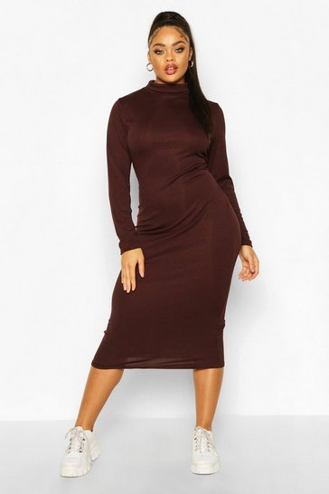 Chocolate Plus Rib Knit Roll Neck Midi Dress