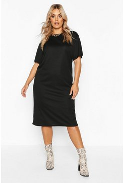 Womens Black Plus Rib Knit Midi T-Shirt Dress