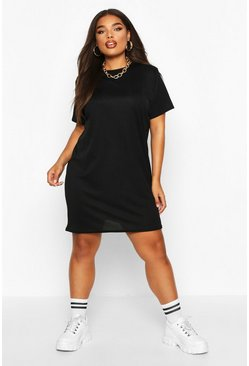 Black Plus Rib Knit T-Shirt Dress