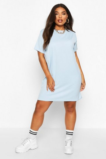 Womens Slate blue Plus Rib Knit T-Shirt Dress