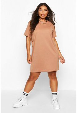 Toffee Plus Rib Knit T-Shirt Dress