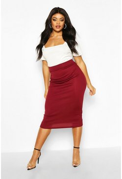 Berry Plus Rib Knit Midi Skirt