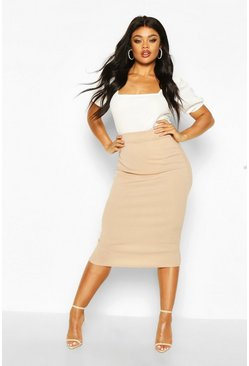 Stone Plus Rib Knit Midi Skirt