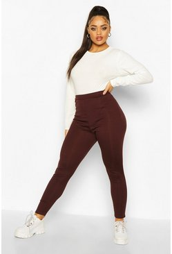 Plus Rippstrick-Leggings, Schokoladenbraun, Damen