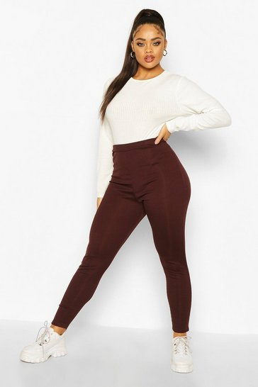 Womens Chocolate Plus Rib Knit Leggings
