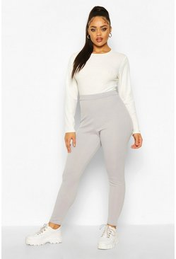 Silver Plus Rib Knit Leggings
