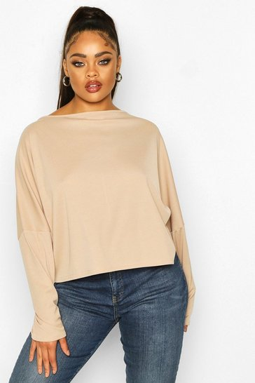 Womens Stone Plus Soft Rib Batwing Sleeve Top