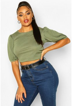 Khaki Plus Soft Rib Short Puff Sleeve Cropped Top