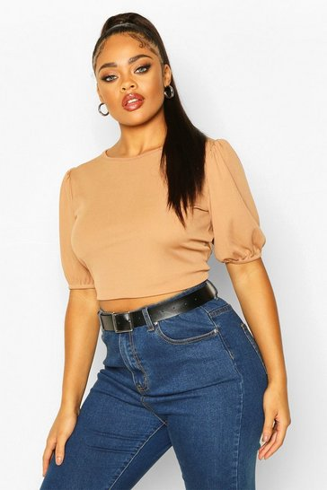 Womens Toffee Plus Soft Rib Short Puff Sleeve Cropped Top