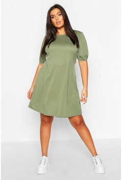 Khaki Plus Soft Rib Puff Sleeve Swing Dress
