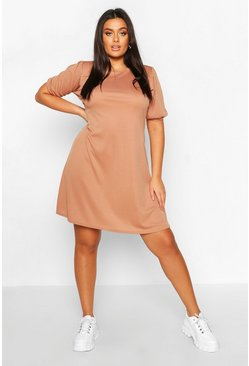 Mocha Plus Soft Rib Puff Sleeve Swing Dress