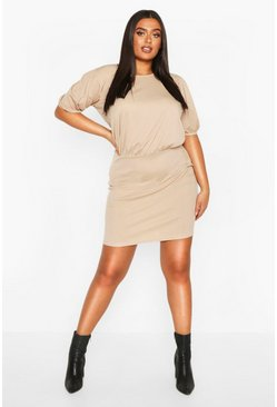 Stone Plus Soft Rib Puff Sleeve Blouson Mini Dress