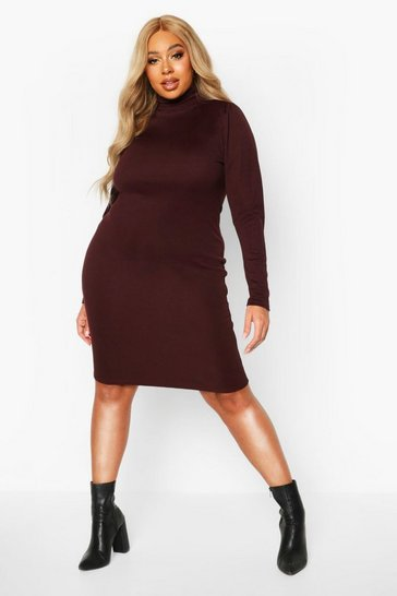 Chocolate Plus Soft Rib High Neck Puff Sleeve Mini Dress
