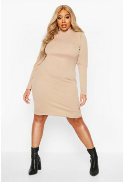 Stone Plus Soft Rib High Neck Puff Sleeve Mini Dress