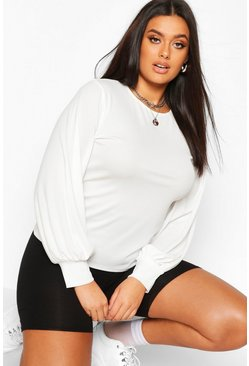 Ecru Plus Soft Rib Balloon Sleeve Crew Neck Top